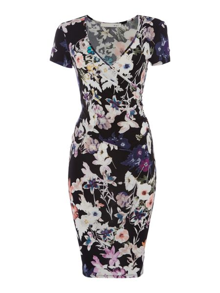 Oui Fitted Floral Dress with Ruched Waist