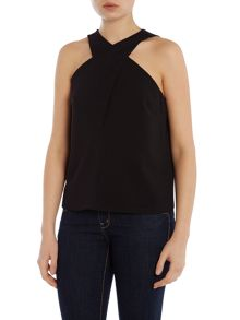 Sleeveless Top With Cross Over Front