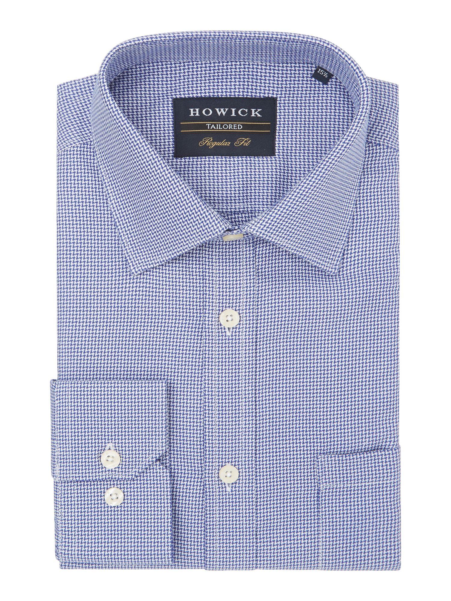 Howick Tailored Men's Howick Tailored Andover classic collar shirt with dogstooth check, Blue