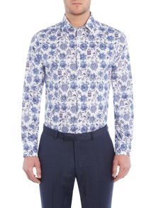 New & Lingwood Halisham print shirt with classic collar