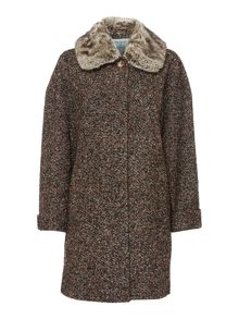 Dickins & Jones Tweed Coat with Detachable Faux Fur Collar