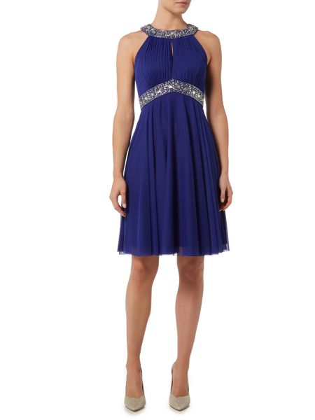 Eliza J Halter beaded waist with neck detail