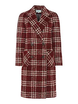 Red Checked Double Breasted Coat