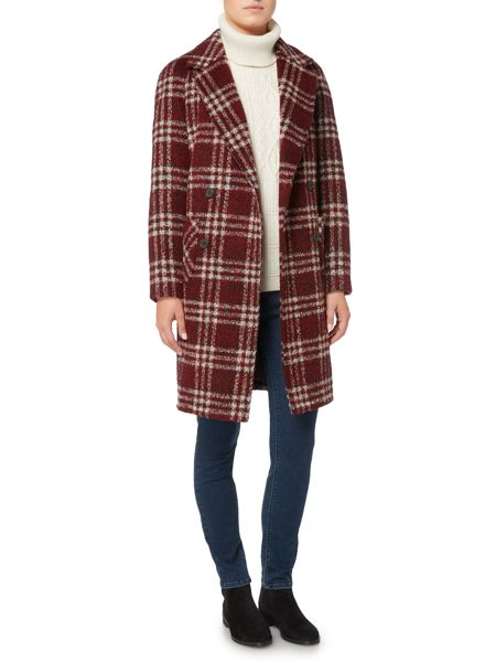 Dickins & Jones Red Checked Double Breasted Coat