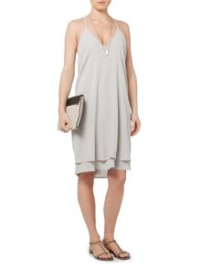Gray & Willow Jade drape back sheer hem strappy dress