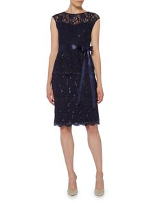 Eliza J Tiered lace dress with waist tie