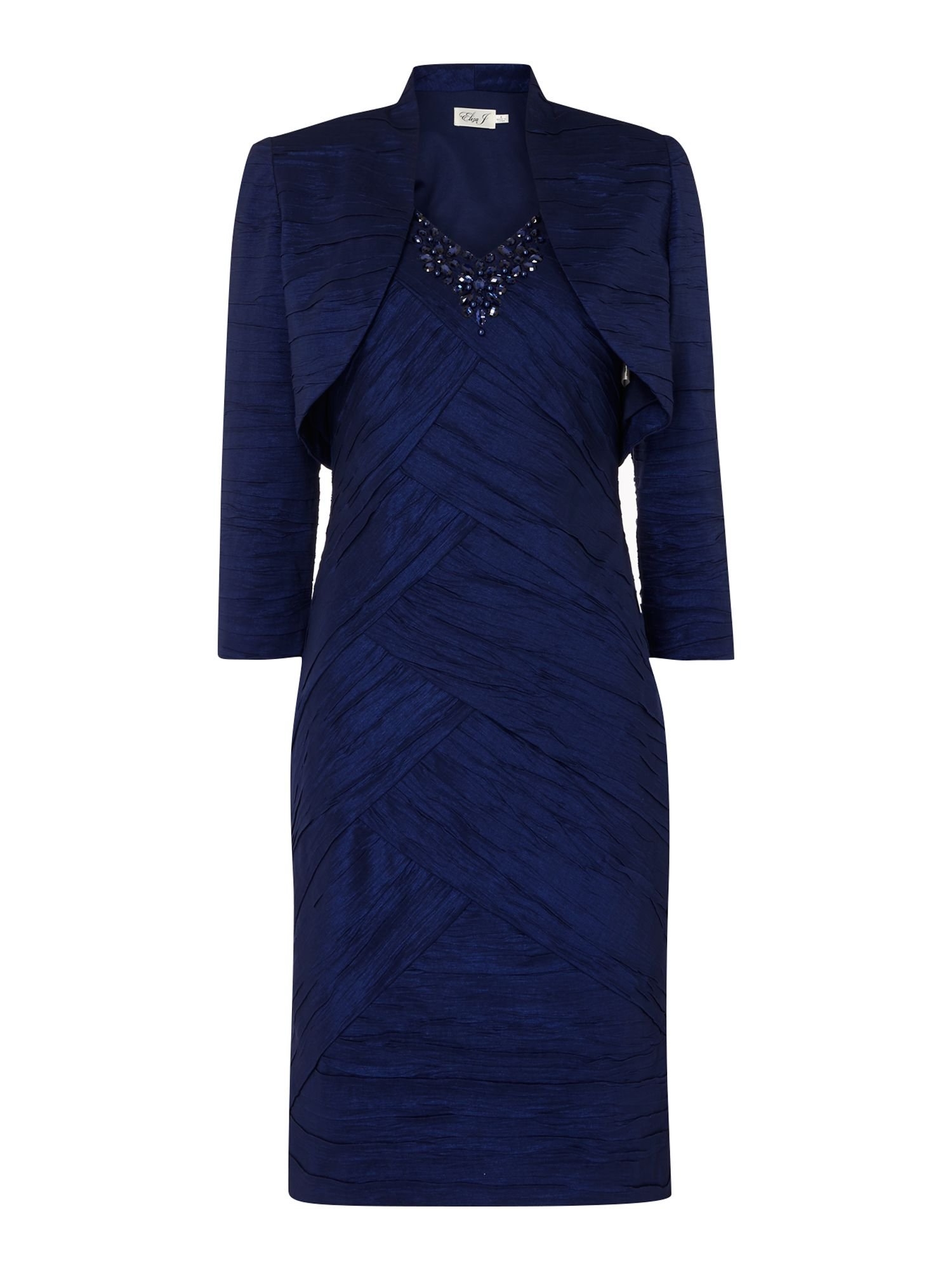 Eliza J Crushed taff dress with jacket, Blue