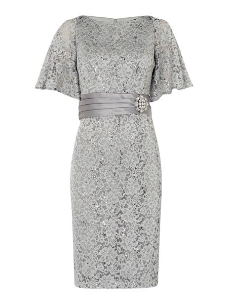 Eliza J All over lace dress with fan sleeve
