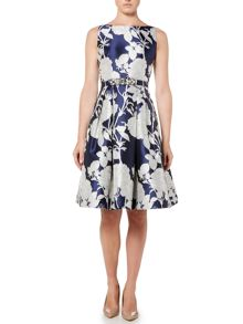 Eliza J Floral print fit and flare with beaded waist