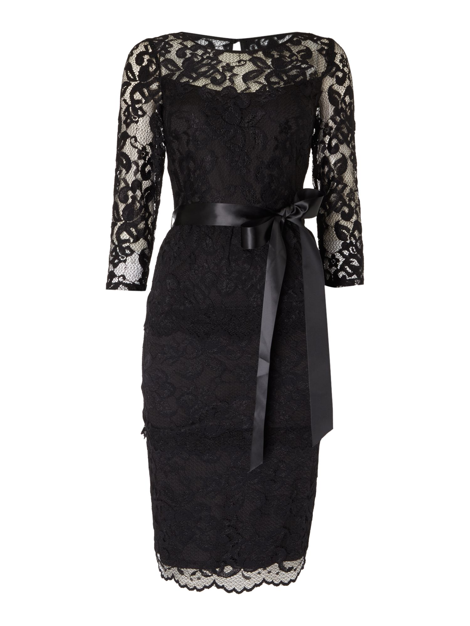 Eliza J Tiered all over lace dress with waist tie, Black