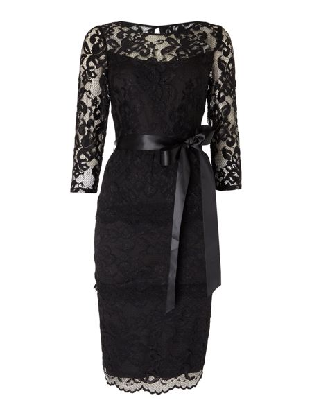 Eliza J Tiered all over lace dress with waist tie