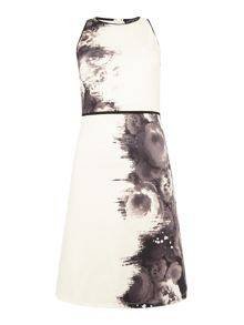 Little Mistress Sleeveless Round Neck Printed Dress