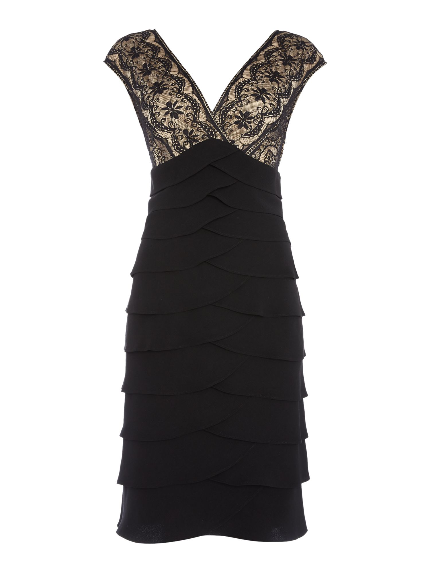 Eliza J Tiered jersey dress with embroidered bodice, Black & Brown