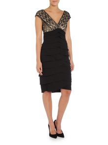 Eliza J Tiered jersey dress with embroidered bodice