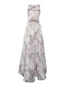 Eliza J Floral print dress with beaded waist