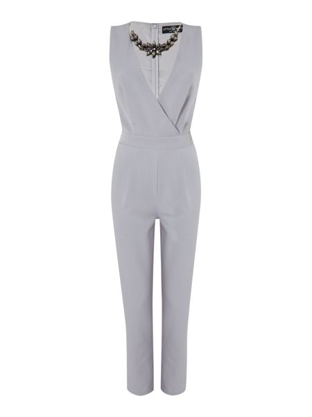 Little Mistress Embellished Neck Jumpsuit