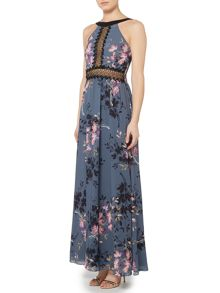 Little Mistress High Neck Printed Maxi Dress