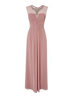 Sleeveless Drape Front Embellished Maxi Dress