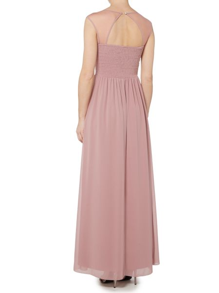 Little Mistress Sleeveless Drape Front Embellished Maxi Dress