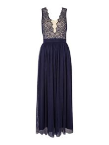 Little Mistress Plunge Neckline Maxi Dress With Lace Top