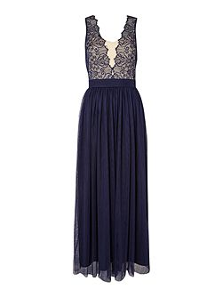 Plunge Neckline Maxi Dress With Lace Top