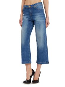Auberry cropped wide leg jean in authentic blue