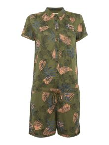 Lee Short sleeve palm leaf print playsuit