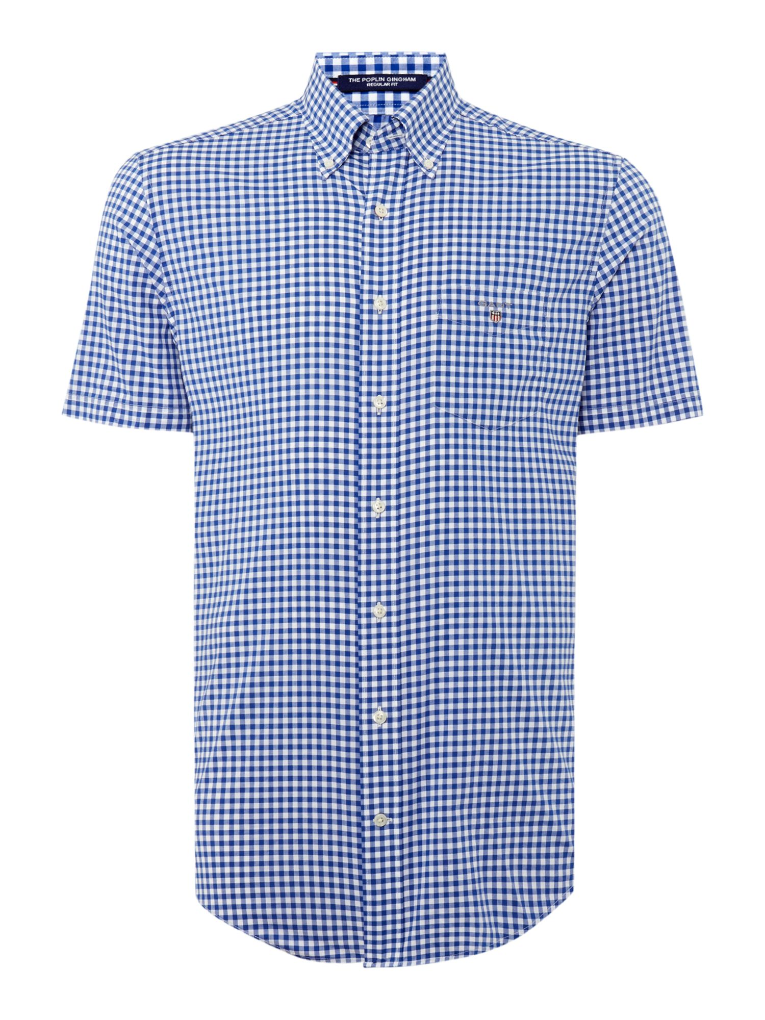 Men 39 s gant gingham short sleeve shirt blue gay times uk for Mens blue gingham shirt