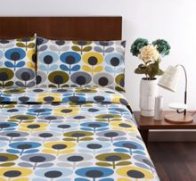 Orla Kiely Multi Flower Oval Marine Pillowcase Pair