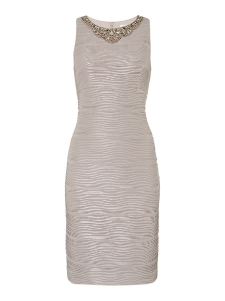 Eliza J Ribbed dress with neck beading