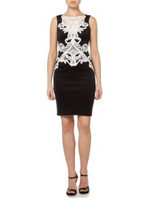 Sleeveless Contrast Lace Short Bodycon Dress