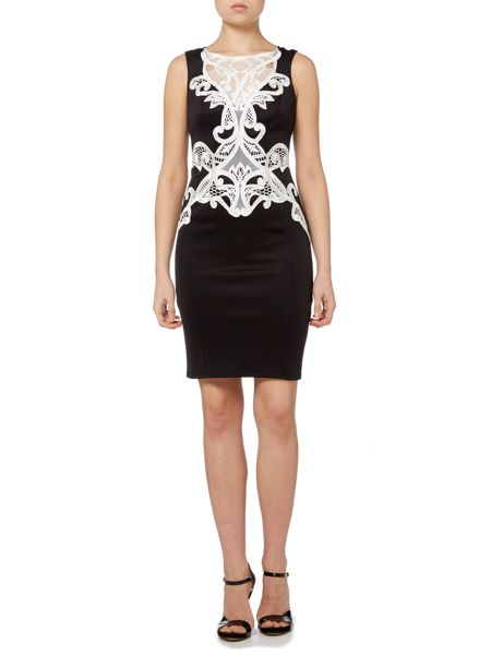 Lipsy Sleeveless Contrast Lace Short Bodycon Dress