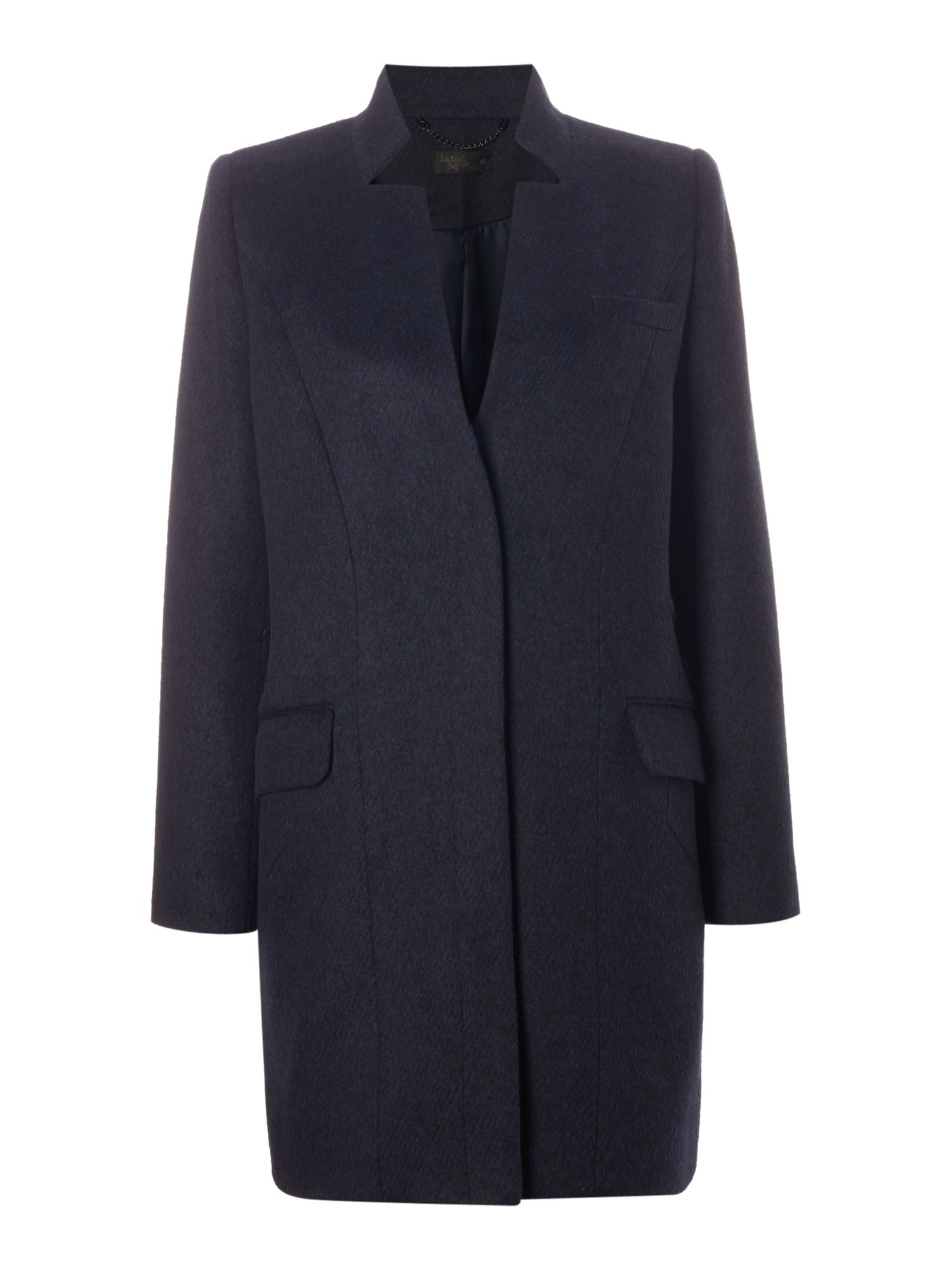 Label Lab Label Lab Stand collar single breasted coat, Navy