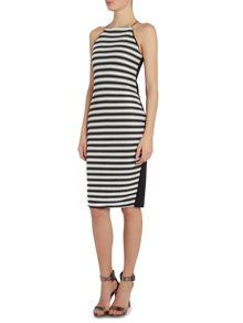 Lipsy Ripple Mono Stripe Dress
