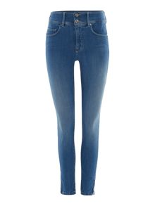 Secret push in zip detail capri jeans