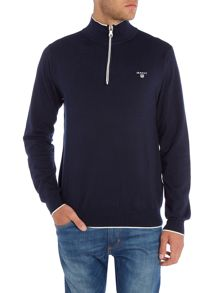 Gant Zip Neck Cotton Knitted Jumper