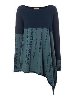Dip dye asymmetric knit jumper