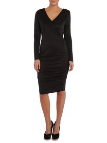 Lipsy Long Sleeve V Wrap Dress