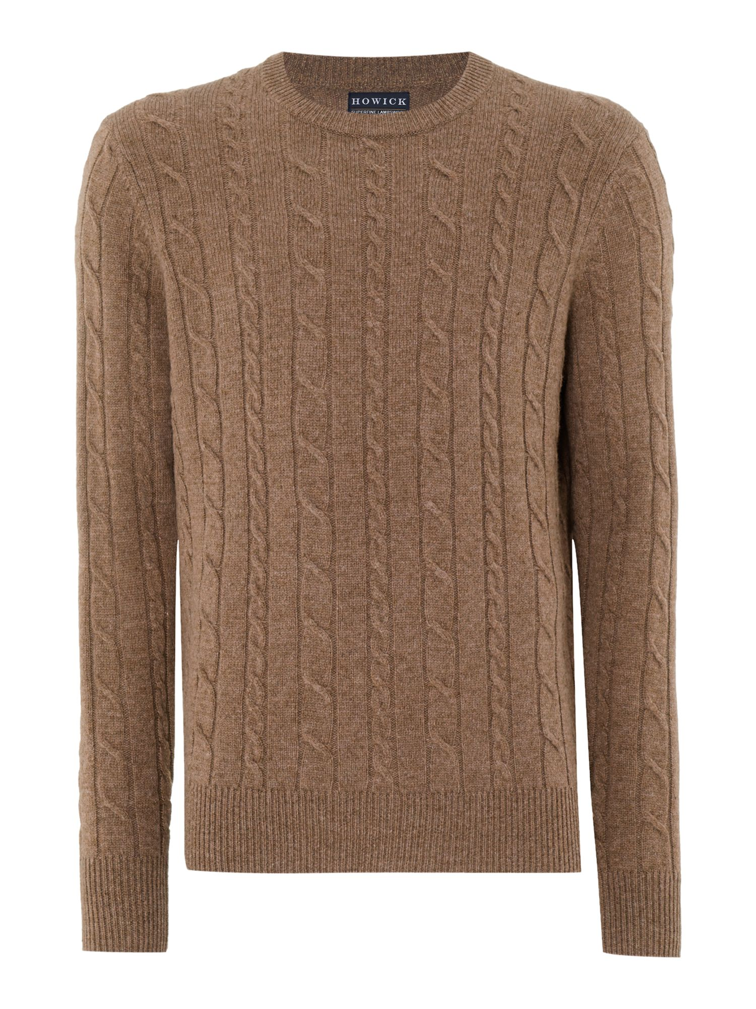 Howick Men's Howick Andover Cable Crew Neck, Caramel