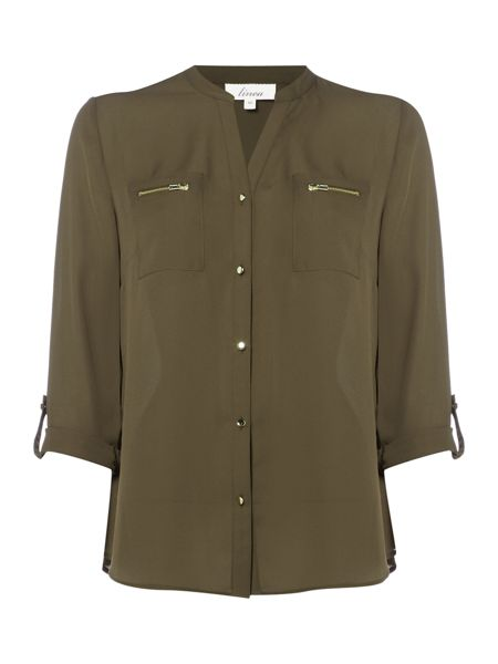 Linea Military zip detail shirt