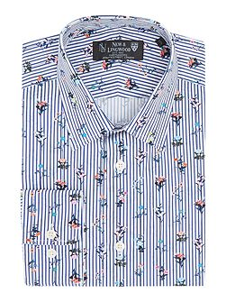 Filton floral on stripe print shirt