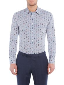 New & Lingwood Filton floral on stripe print shirt