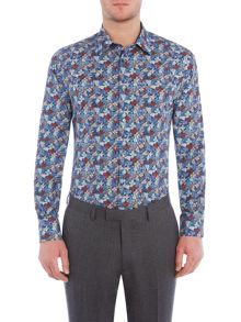 New & Lingwood Oundle hydrangea print shirt