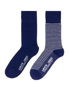 Levi's 2 pack seasonal stripe and solid sock