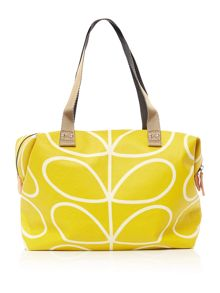 Orla Kiely Linear steam yellow zip tote bag