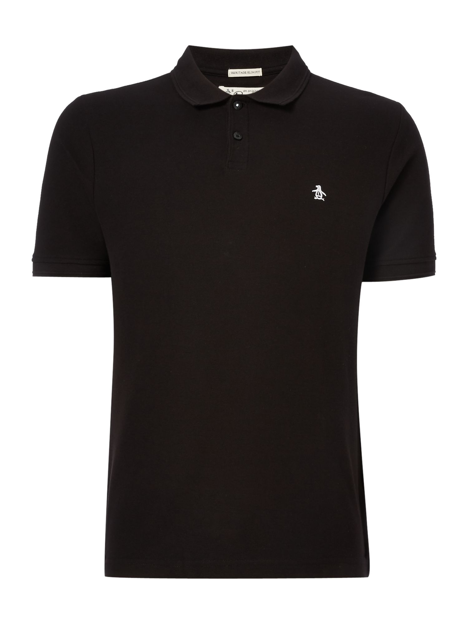 Men's Original Penguin Cotton Raised-Rib short sleeve polo, Black