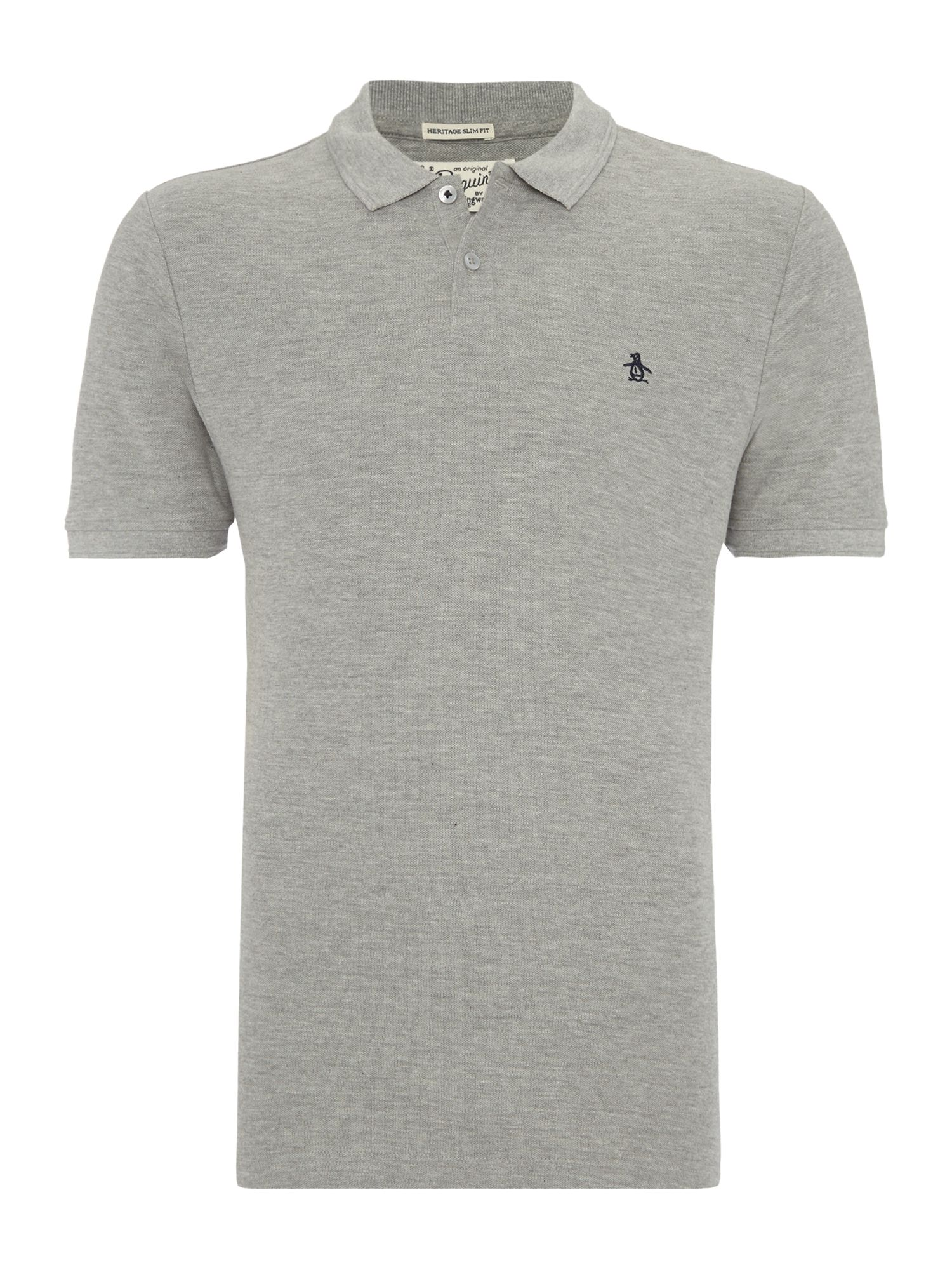 Men's Original Penguin Cotton Raised-Rib short sleeve polo, Grey