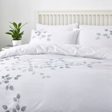 Linea Leaf embroidery duvet cover set