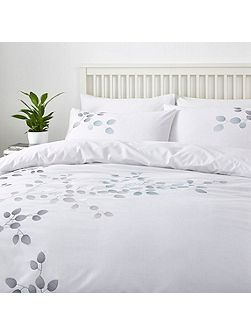Leaf embroidery duvet cover set