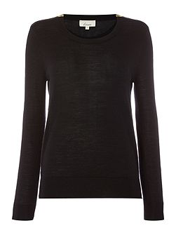 Merino zip shoulder jumper